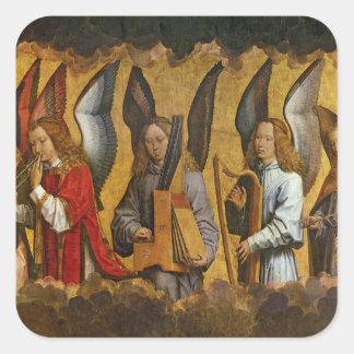 Anges jouant des instruments de musique sticker carré