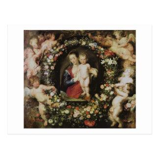 Anges Madonna et beaux-arts de Rubens d'enfant Carte Postale