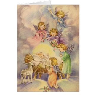 Anges observant au-dessus du bébé Jésus Cartes