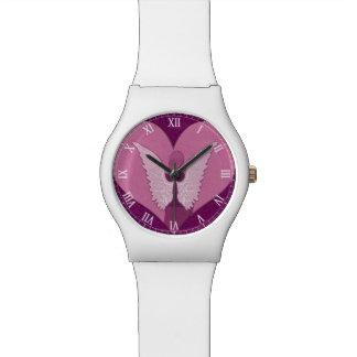 Anges roses avec le coeur montres bracelet