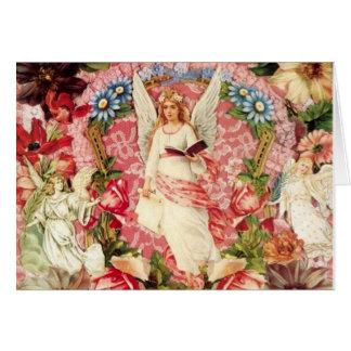 Anges victoriens et carte de collage de fleurs