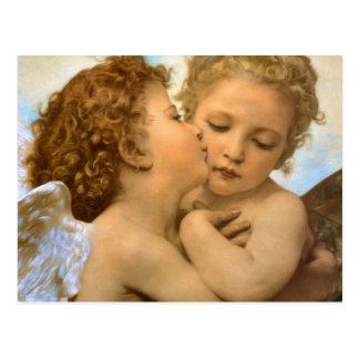 Anges victoriens vintages, premier baiser par carte postale