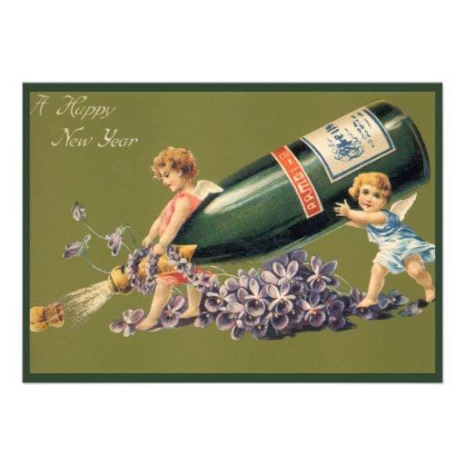 Anges vintages avec Champagne ; Une bonne année Invitations Personnalisées