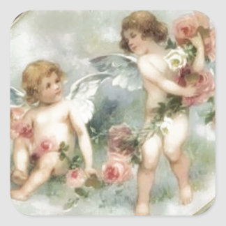 Anges vintages de Valentine Sticker Carré