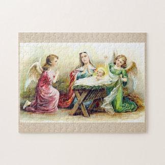 Anges vintages entourant le bébé Jésus et Mary Puzzle