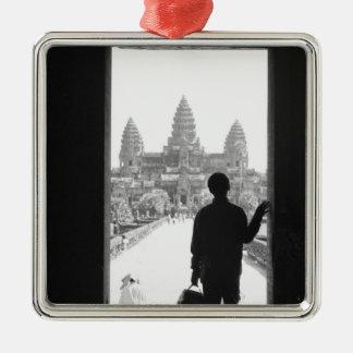 Angkor Cambodge, porte et personne Angkor Vat Ornement Carré Argenté