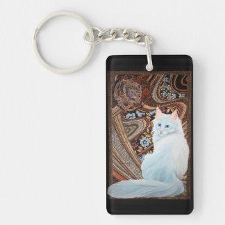 Angora turc blanc porte-clé rectangulaire en acrylique double face