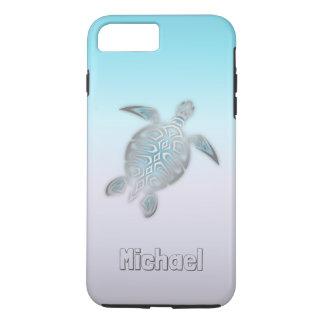 Animal argenté de monogramme de tortues de mer coque iPhone 8 plus/7 plus