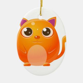 Animal de bébé de chat dans le style doux Girly Ornement Ovale En Céramique