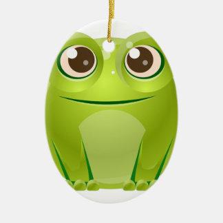 Animal de bébé de grenouille dans le style doux ornement ovale en céramique