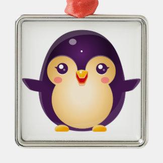 Animal de bébé de pingouin dans le style doux ornement carré argenté