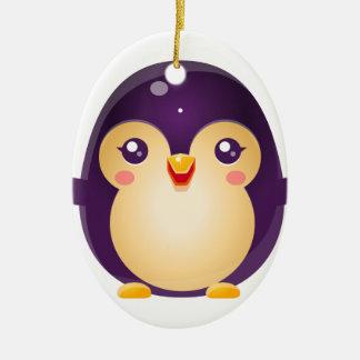 Animal de bébé de pingouin dans le style doux ornement ovale en céramique
