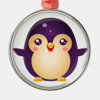 Animal de bébé de pingouin dans le style doux ornement rond argenté