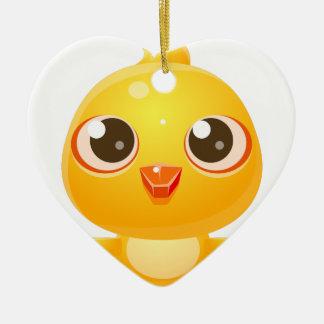 Animal de bébé de poulet dans le style doux Girly Ornement Cœur En Céramique