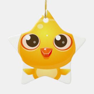 Animal de bébé de poulet dans le style doux Girly Ornement Étoile En Céramique