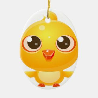 Animal de bébé de poulet dans le style doux Girly Ornement Ovale En Céramique