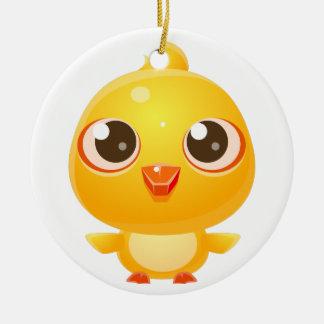 Animal de bébé de poulet dans le style doux Girly Ornement Rond En Céramique