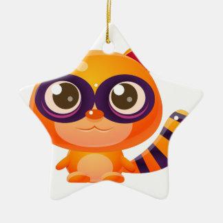 Animal de bébé de raton laveur dans le style doux ornement étoile en céramique