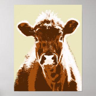 Animal de ferme de vache à Brown Poster