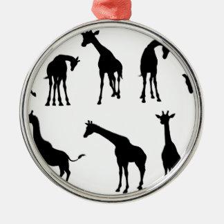 Animal de girafe de silhouettes ornement rond argenté