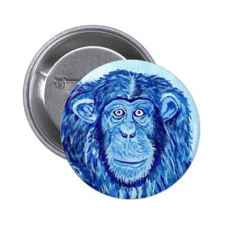 Animal drôle de singe bleu de chimpanzé badges