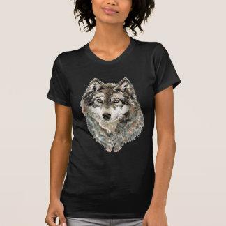 Animal fait sur commande d'aquarelle de loup de t-shirt
