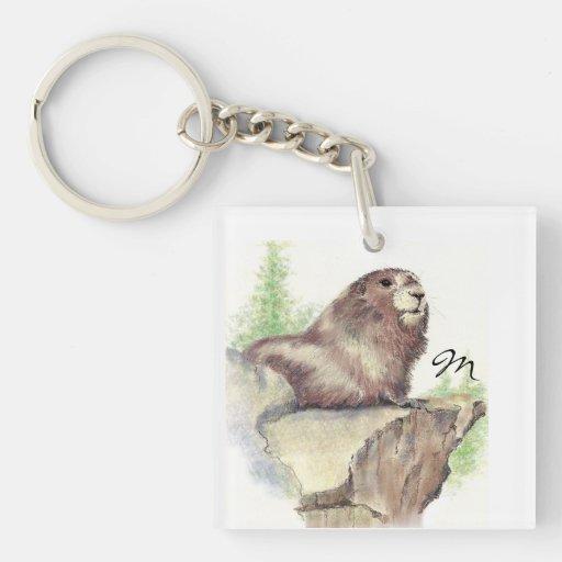 Animal fait sur commande de Marmot de monogramme o Porte-clefs