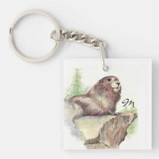 Animal fait sur commande de Marmot de monogramme o Porte-clé Carré En Acrylique Une Face