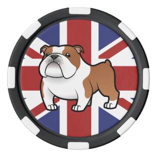 Animal familier de bande dessinée avec le drapeau jetons de poker