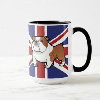 Animal familier de bande dessinée avec le drapeau mugs