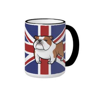 Animal familier de bande dessinée avec le drapeau mug à café