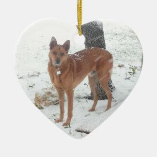 Animal familier de collection de Noël ou photo de Ornement Cœur En Céramique
