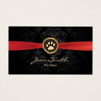 Animal familier reposant la damassé rouge élégante cartes de visite