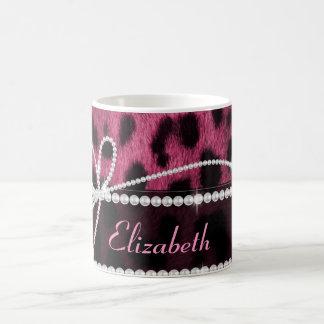 Animal girly chic à la mode de léopard de roses mug