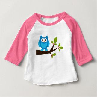 Animal mignon bleu de bande dessinée d'arbre t-shirt pour bébé