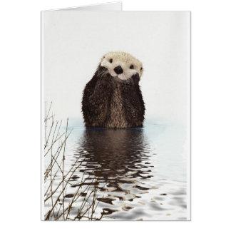 Animal pelucheux adorable mignon de loutre cartes