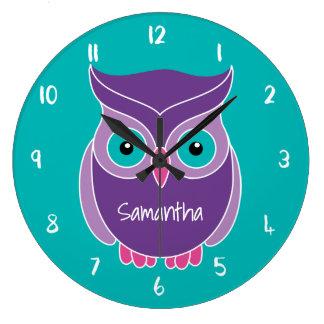 Animal personnalisé par enfants turquoises grande horloge ronde