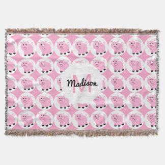 Animal rose de motif de porc d'enfants décorés couvre pied de lit