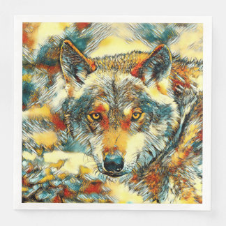 AnimalArt_Wolf_20170602_by_JAMColors Serviette Jetable