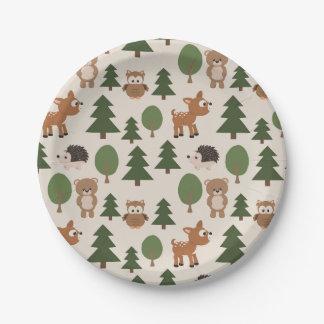 Animaux dans la forêt assiettes en papier