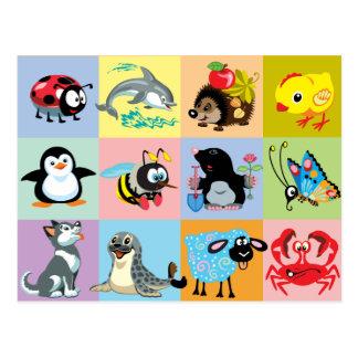 animaux de bande dessinée pour des enfants cartes postales