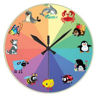 animaux de bande dessinée pour des enfants grande horloge ronde