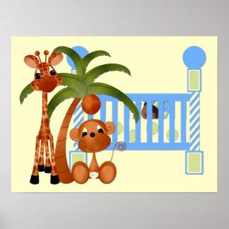 Animaux de bébé bleu avec le décor de mur de huche affiche