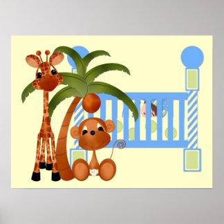 Animaux de bébé bleu avec le décor de mur de huche posters
