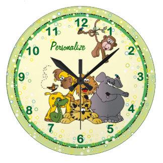 Animaux de bébé de jungle de safari grande horloge ronde