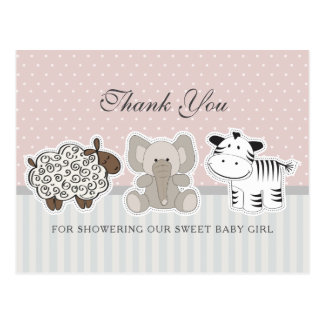Animaux de bébé pour la carte postale de Merci du