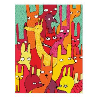 Animaux de Colorfull Carte Postale