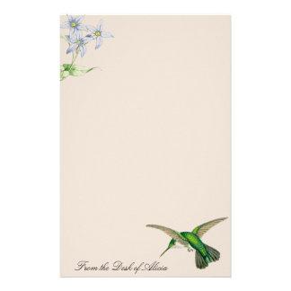 Animaux de faune de fleurs d'oiseaux de colibri papeterie