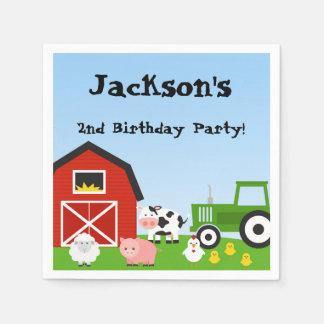 Animaux de ferme, vache, tracteur, mouton, porcs, serviettes en papier
