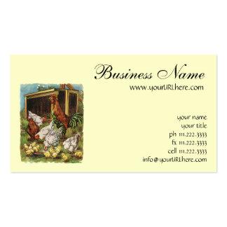 Animaux de ferme vintages, coq, poules, poulets cartes de visite personnelles